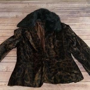NWT Inc. Leopard Fuzzy Blazer Medium